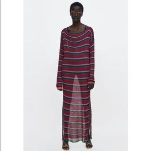 Zara Color Strip Metallic Knitted Beach Cover Up L